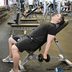 упражнения молот на наклонной скамье