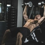 Жим гантелей на наклонной скамье — на верх грудных мышц