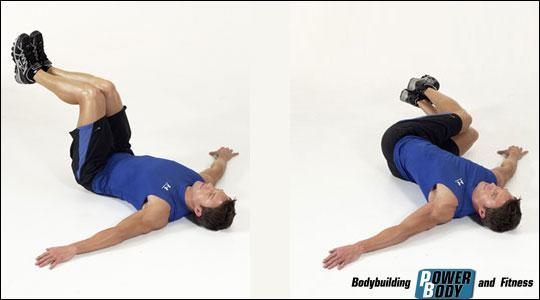 Упражнение «дворники» лежа на полу